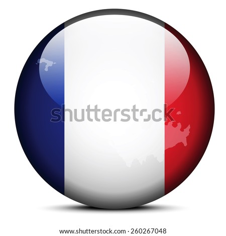 Vector Image - Map on flag button of Collectivity of Saint���­Barthelemy - stock vector