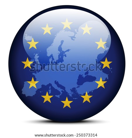 Vector Image - Map on flag button of Continent of Europe - stock vector