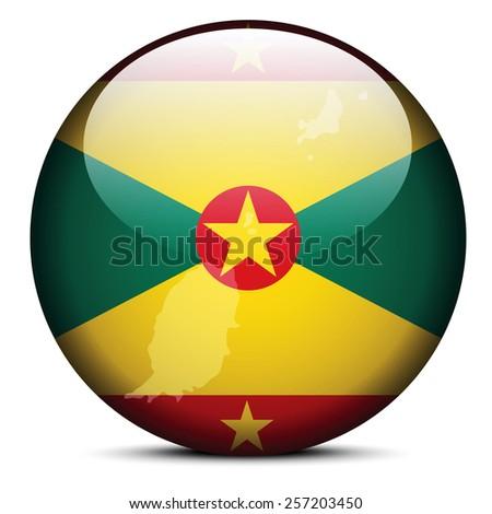 Vector Image - Map on flag button of Grenada - stock vector