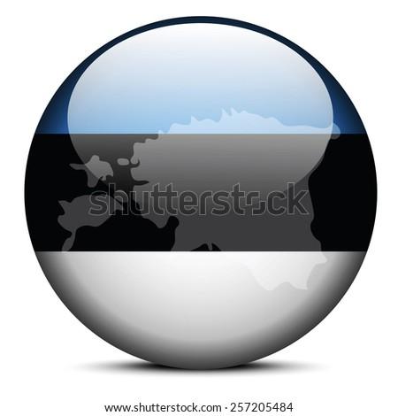 Vector Image - Map on flag button of Republic of Estonia - stock vector