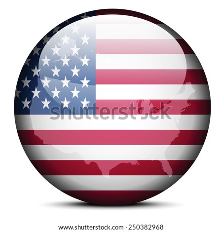 Vector Image - Map on flag button of United States of America - stock vector