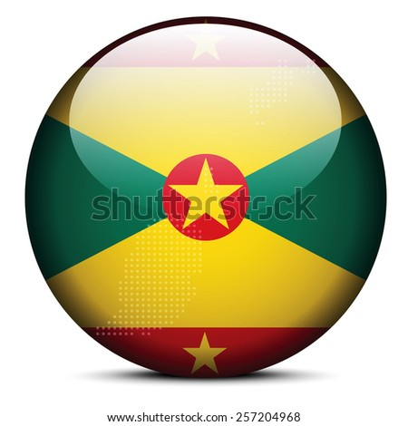 Vector Image - Map with Dot Pattern on flag button of Grenada - stock vector