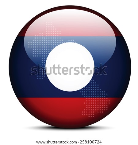 Vector Image -  Map with Dot Pattern on flag button of Laos - Lao People's Democratic Republic