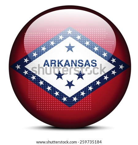 Vector Image - Map with Dot Pattern on flag button of USA Arkansas State - stock vector