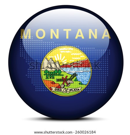 Vector Image - Map with Dot Pattern on flag button of USA Montana State - stock vector