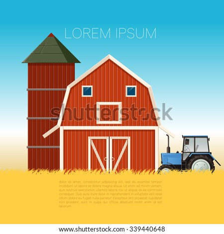 Vector image of a banner with the farm and tractor