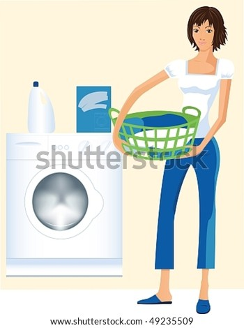 Vector image of a beautiful housewife who wants to wash clothes in the washing machine. - stock vector