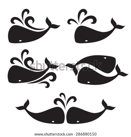 Vector image of a big whale. Logo design for the company.