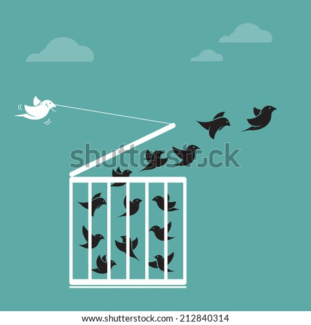 Vector image of a bird in the cage and outside the cage. Freedom concept - stock vector