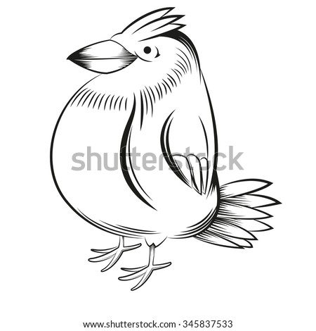 vector image of a bird made with black outlines on a transparent background
