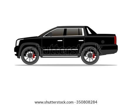 Vector image of a black pickup truck with black wheels