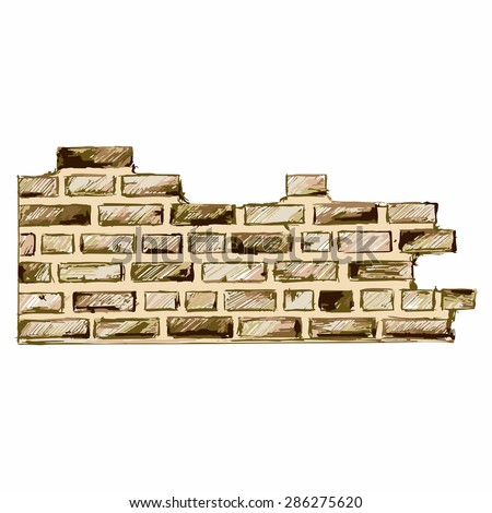 Vector image of a brick wall - stock vector