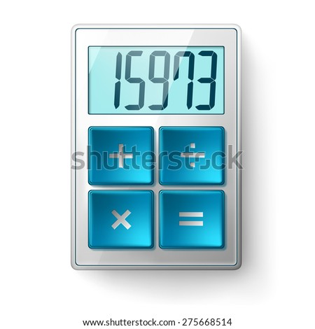 Vector image of a calculator with blue buttons and metal. - stock vector