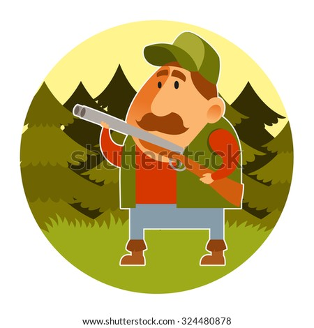 Vector image of a cartoon hunter with the rifle