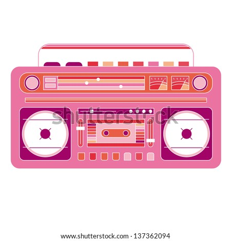 Vector image of a classic boom box - stock vector