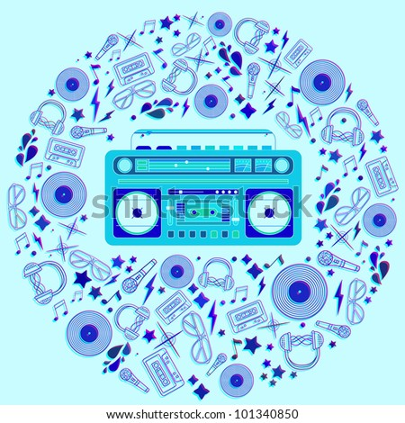 vector image of a classic boom box silhouette in circle shape. - stock vector