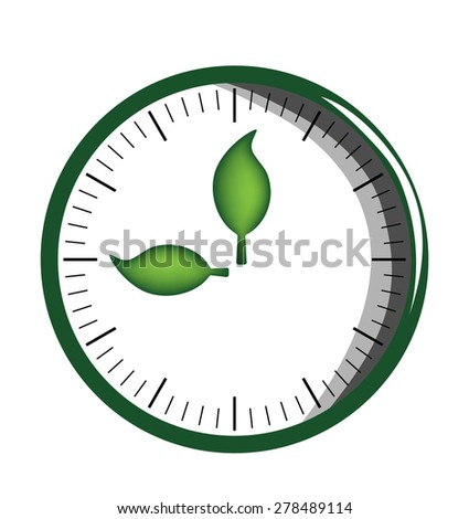 Vector image of a clock face with green leaves