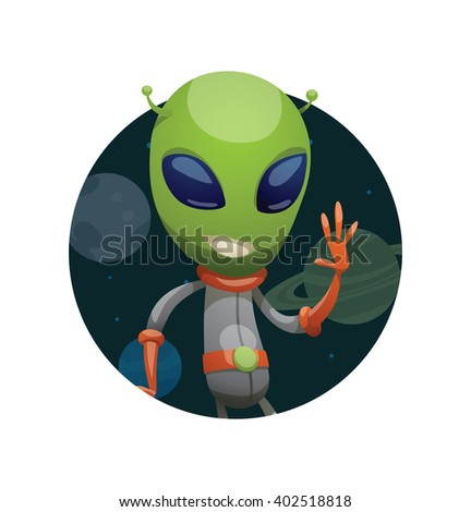 Vector image of a dark space round frame with planets, with cartoon image of funny green alien in gray-orange spacesuit waving his left hand in the center on a white background. Vector illustration. - stock vector