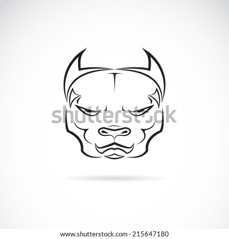 Vector image of a dog pitbull head on white background - stock vector