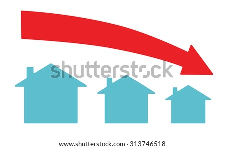 Vector image of a downward arrow and houses - stock vector