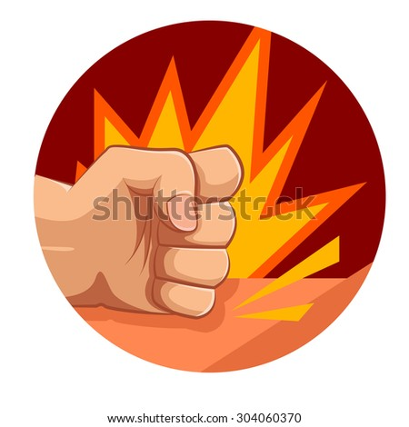 Vector image of a fist strong strike