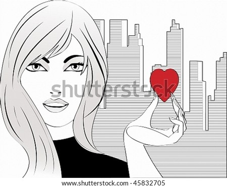 Vector image of a girl who gives a small heart. Easily edited, all on separate layers - stock vector