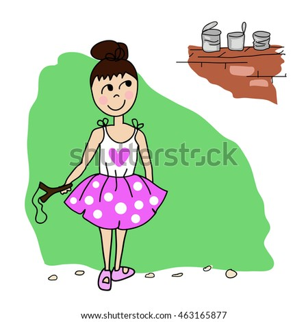 vector image of a girl with a slingshot