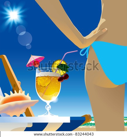 Vector image of a glass with cocktail and sexy girl body part in the beach under blue sunny sky