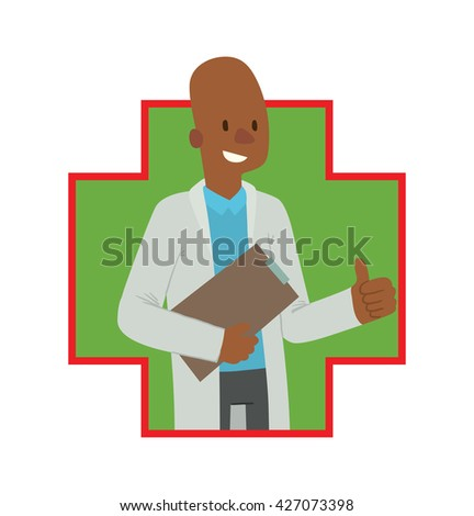 Vector image of a green-red frame in the shape of a cross with a cartoon image of a bald black man doctor in white medical coat with a clipboard in his hand smiling in the center on a white background - stock vector