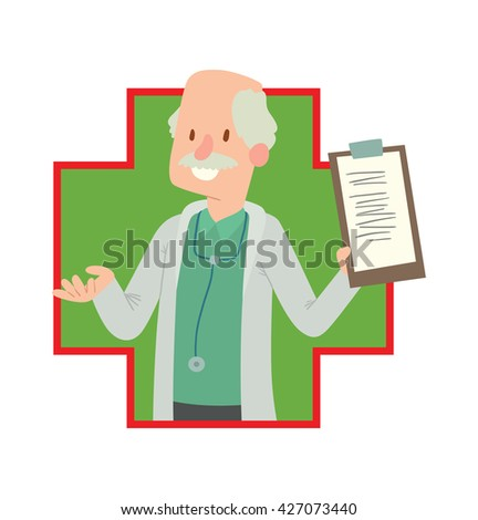 Vector image of a green-red frame in the shape of cross with a cartoon image of old bald man doctor with mustache in white medical coat with clipboard in hand smiling in the center on white background - stock vector