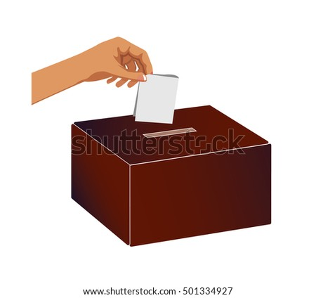Vector image of a hand placing a vote into a ballot box