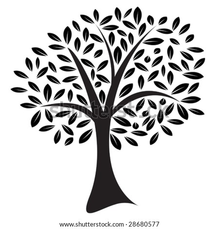 Vector image of a lone tree with leaves in a random pattern - stock vector