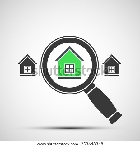 Vector image of a magnifying glass and Real Estate - stock vector