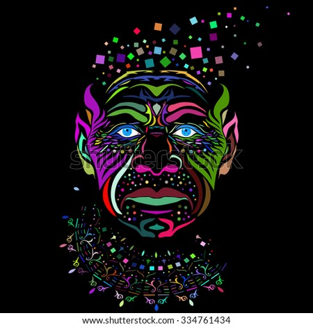 vector image of a man face in abstract style done in a slightly psychedelic manner