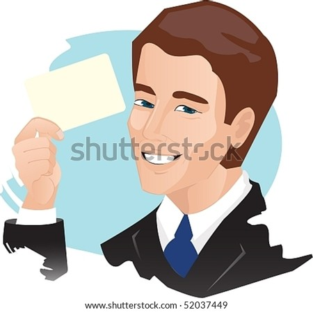 Vector image of a man who holds in his hand a card (ticket).Excellent opportunity to arrange your text. - stock vector