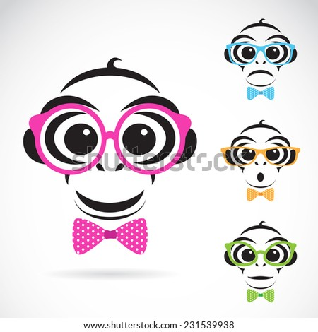 Vector image of a monkey wearing glasses on white background. Fashion - stock vector