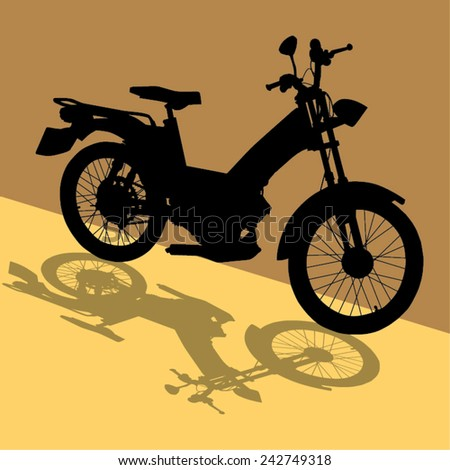 Vector image of a motorbike silhouette with its shadow