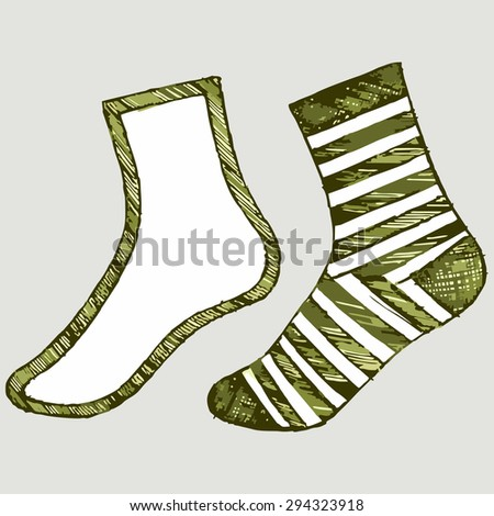 Vector image of a pair of socks of different - stock vector