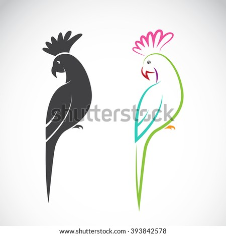 Vector image of a parrot design on white background, Vector parrot for your design, - stock vector