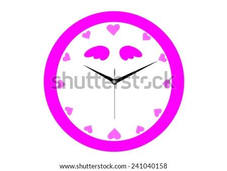 vector image of a pink alarm clock - stock vector