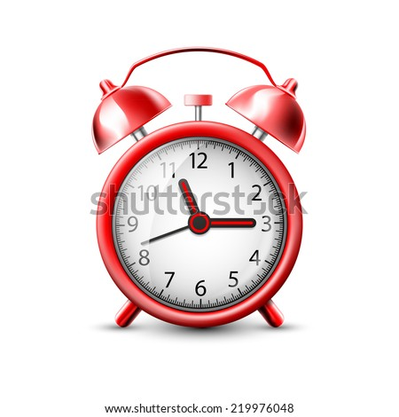 vector image of a red alarm clock - stock vector