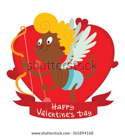 Vector image of a red frame in the form of a heart symbol with a red banner with a cartoon image of cute little black cupid flying on a white background. Valentine's Day. Vector illustration. Card.