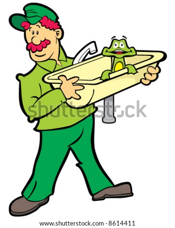 vector image of a red-haired plumber carrying a kitchen sink with a surprised frog peering over the edge
