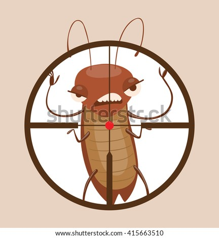 Vector image of a round black frame like under the gun with cartoon image of funny brown cockroach frightening someone in the center on gray background. Anthropomorphic cartoon cockroach. Pest control - stock vector