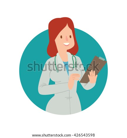 Vector image of a round blue frame with cartoon image of a woman doctor with red hair in white medical coat, with a clipboard in her hand, smiling in the center on white background. Health, treatment. - stock vector