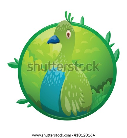 Vector image of a round green frame with leaves and with cartoon image of a funny fantasy beautiful tropical bird with bright green-blue feathers and small beak in the center on a white background. - stock vector