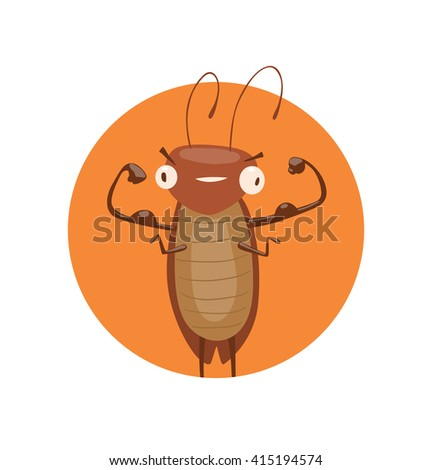 Vector image of a round orange frame with cartoon image of a funny brown cockroach with antennae and six legs showing biceps in the center on a white background. Anthropomorphic cartoon cockroach. - stock vector