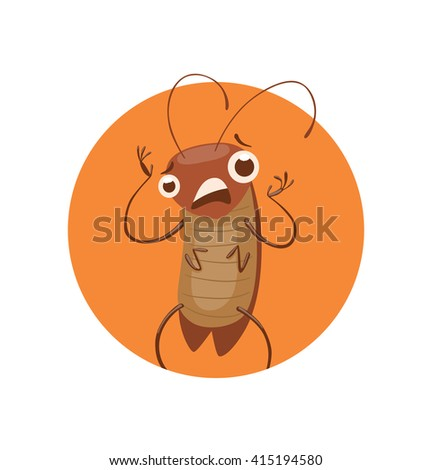 Vector image of a round orange frame with cartoon image of a funny brown cockroach with antennae and six legs standing terrified in the center on a white background. Anthropomorphic cartoon cockroach. - stock vector
