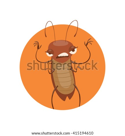 Vector image of a round orange frame with cartoon image of a funny brown cockroach with antennae and six legs frightening someone in the center on a white background. Anthropomorphic cartoon cockroach - stock vector