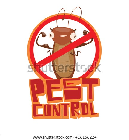 """Vector image of a round red crossed-out sign with cartoon image of a funny brown cockroach showing the biceps in the center on a white background. Inscription """"Pest control"""". Vector illustration. - stock vector"""